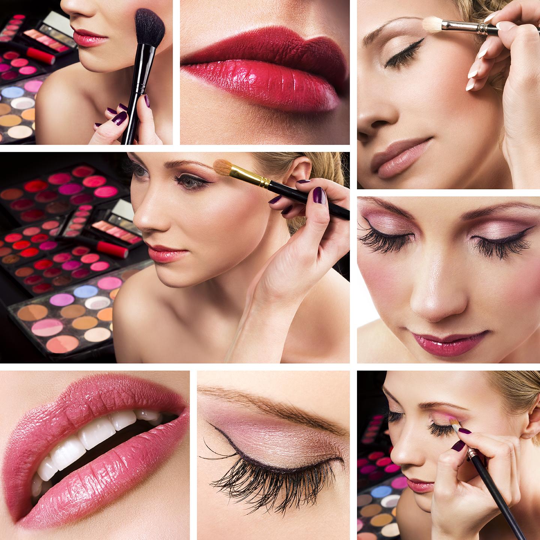 Make-Up abgestimmt auf die Gesichtsform und den Anlass.